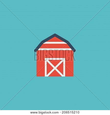 Flat Icon Barn Element. Vector Illustration Of Flat Icon Storehouse Isolated On Clean Background