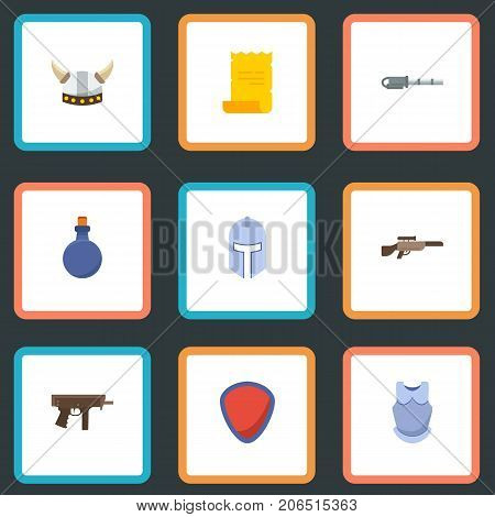 Flat Icons Parchment, Viking Helmet, Flask And Other Vector Elements