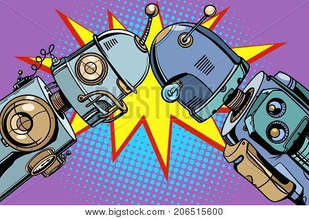 Old robot vs new. Pop art retro vector vintage illustrations
