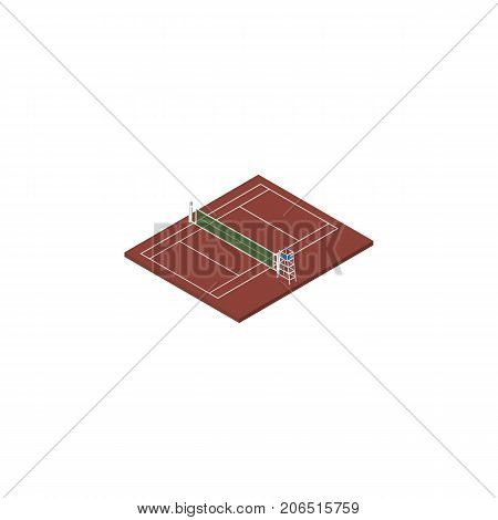 Volleyball Vector Element Can Be Used For Tennis, Volleyball, Playground Design Concept.  Isolated Tennis Isometric.