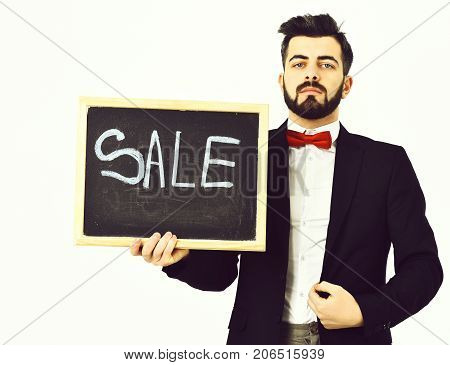 Bearded Man, Caucasian Hipster With Moustache And Sale Inscription