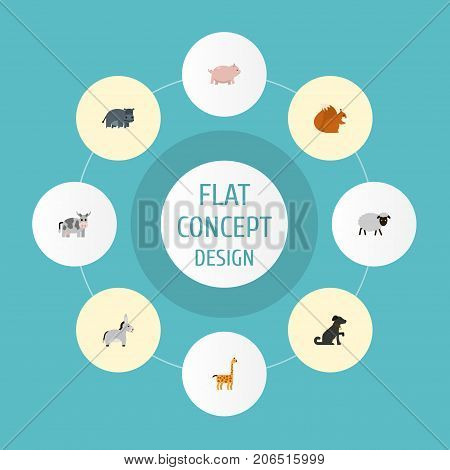 Flat Icons Hound, Kine, Mutton And Other Vector Elements