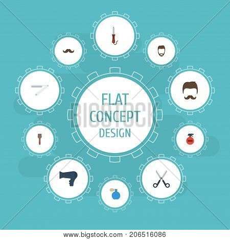 Flat Icons Moustache, Spray, Bristle And Other Vector Elements