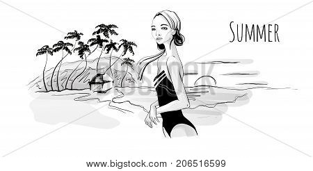 Young girl in monokini on sea beach at sunset, palm trees and hut on the shore. Vector illustration in sketch style, isolated on white.