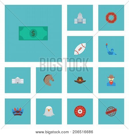 Flat Icons Greenback, Bird, Football And Other Vector Elements
