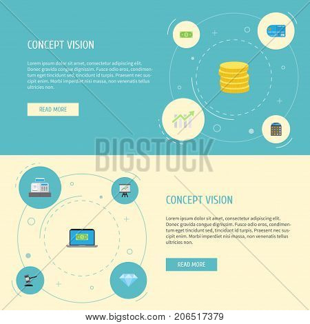 Flat Icons Growing Chart, Bar Diagram, Small Change And Other Vector Elements