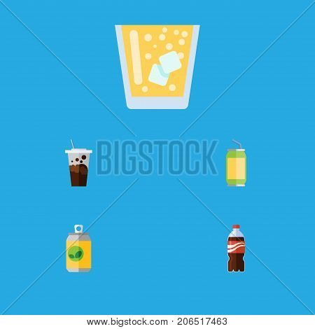 Flat Icon Beverage Set Of Carbonated, Lemonade, Bottle And Other Vector Objects