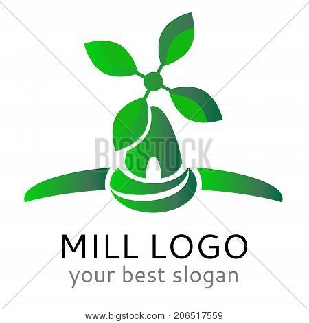 Ecological vector logo concept. Organic vegan windmill logotype.