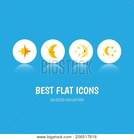 Flat Icon Night Set Of Nighttime, Bedtime, Moon And Other Vector Objects