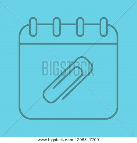 Add file to calendar linear icon. Calendar page with paper clip. Thin line outline symbols on color background. Vector illustration