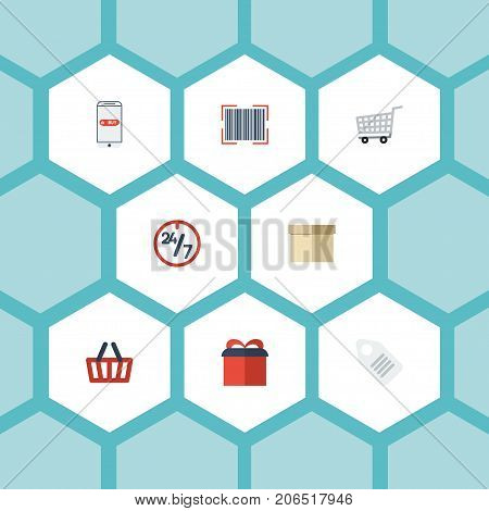Flat Icons Qr, Bag, Support And Other Vector Elements