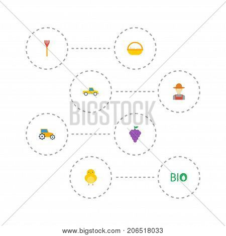 Flat Icons Poultry, Vineyard, Ecology And Other Vector Elements