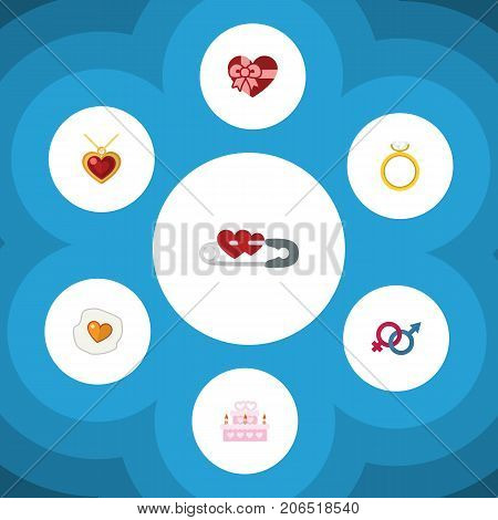 Flat Icon Amour Set Of Sexuality Symbol, Scrambled, Present And Other Vector Objects