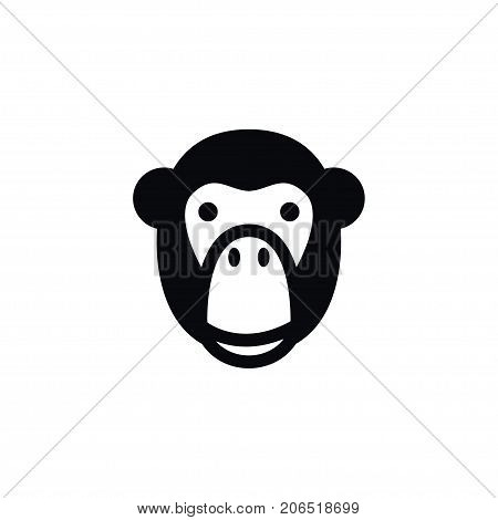 Monkey Vector Element Can Be Used For Monkey, Ape, Baboon Design Concept.  Isolated Ape Icon.