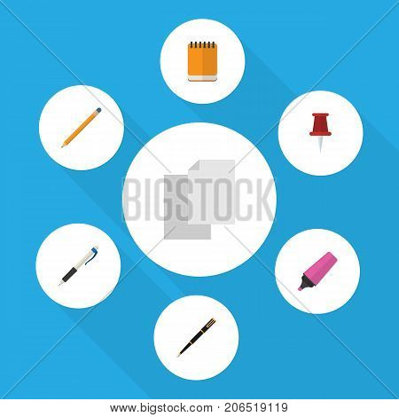 Flat Icon Tool Set Of Pencil, Pushpin, Notepaper And Other Vector Objects