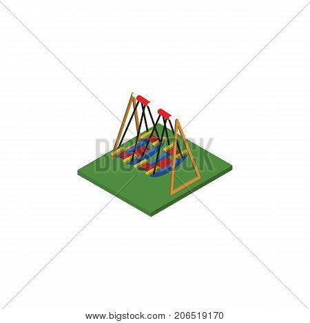 Seesaw Vector Element Can Be Used For Swing, Seesaw, Park Design Concept.  Isolated Swing Isometric.