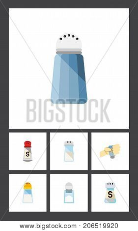 Flat Icon Sodium Set Of Flavor, Spicy, Sodium And Other Vector Objects