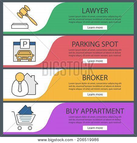 Real estate web banner templates set. Gavel, garage, broker, shopping cart with house. Website color menu items. Vector headers design concepts