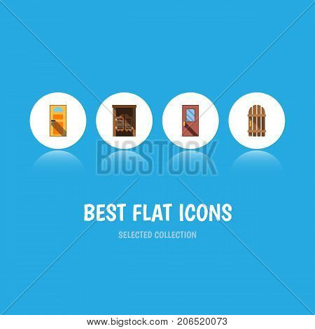Flat Icon Approach Set Of Wooden Fence, Saloon, Exit And Other Vector Objects