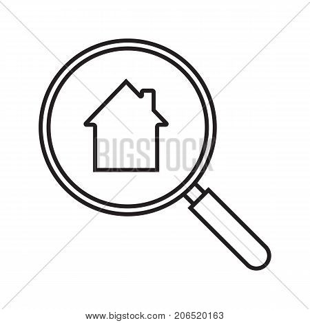 Real estate search linear icon. House hunt. Thin line illustration. Looking for apartment. Magnifying glass with building inside. Contour symbol. Vector isolated outline drawing