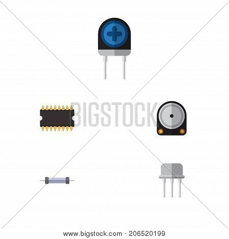 Flat Icon Technology Set Of Resistor, Microprocessor, Transducer And Other Vector Objects