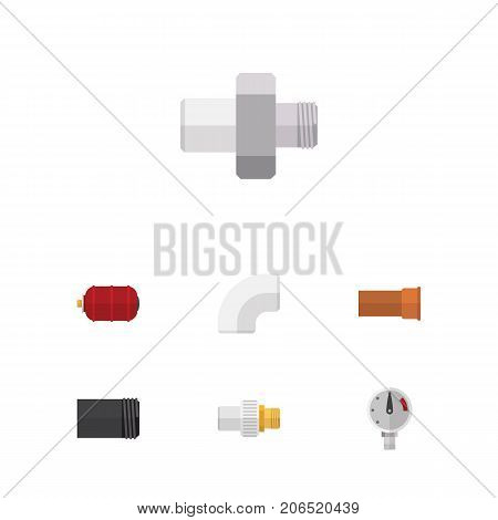 Flat Icon Plumbing Set Of Plastic, Connector, Container And Other Vector Objects