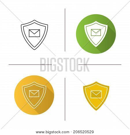 Email security icon. Flat design, linear and color styles. Sms message inside protection shield. Spam filter protection. Isolated vector illustrations