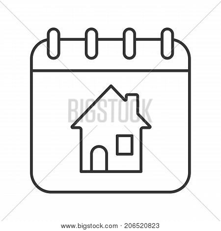 Home calendar linear icon. Thin line illustration. Calendar page with house inside. Rental apartment reservation date. Contour symbol. Vector isolated outline drawing
