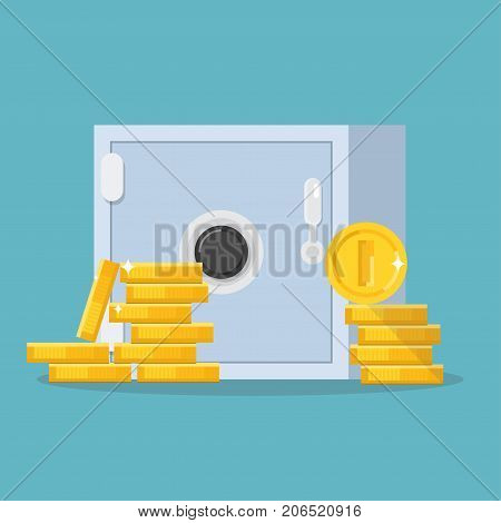 Safe and pile of coins. Golden money front view. Metal safe with lock. Stack of metal currency on blue background. Flat style line modern vector illustration with gold colors.