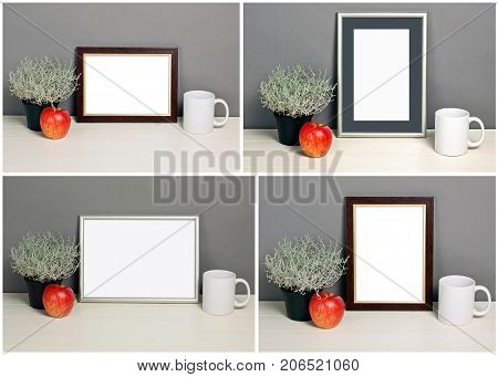Set of frame mockup with plant pot apple mug. Empty frame mock up for presentation design. Template framing for modern art.