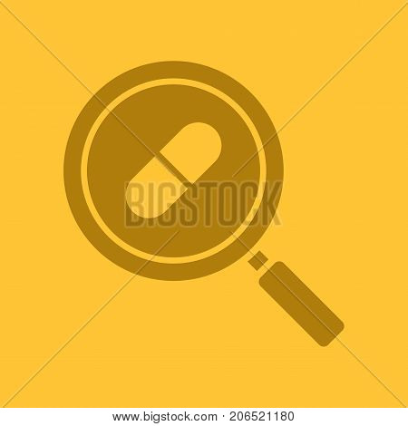 Drugstore and medicine search glyph color icon. Silhouette symbol. Magnifying glass with pill. Pharmacy nearby. Negative space. Vector isolated illustration