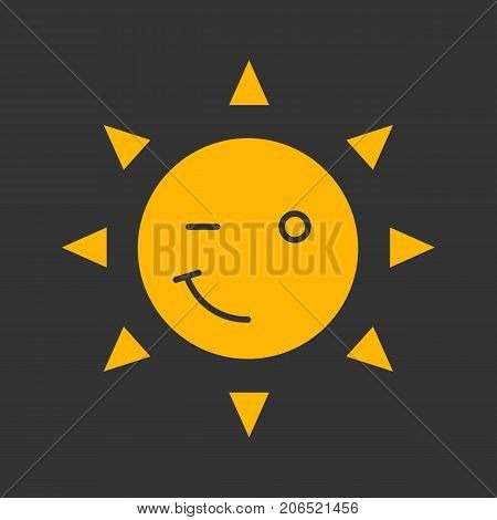 Winking sun smile glyph color icon. Emoticon. Happy and funny sun face. Silhouette symbol on black background. Negative space. Vector illustration