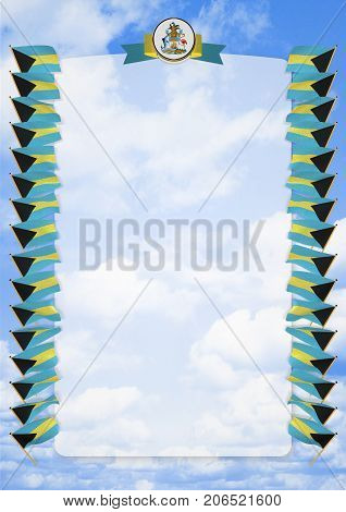 Frame And Border With Flag And Coat Of Arms Bahamas. 3D Illustration