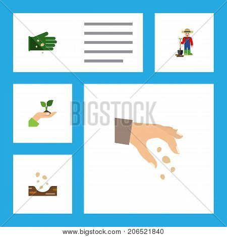 Flat Icon Seed Set Of Seed, Man, Glove And Other Vector Objects