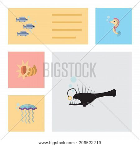 Flat Icon Nature Set Of Tuna, Medusa, Seashell And Other Vector Objects