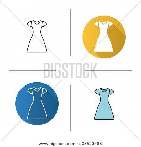 Sun frock icon. Flat design, linear and color styles. Sarafan. Isolated vector illustrations