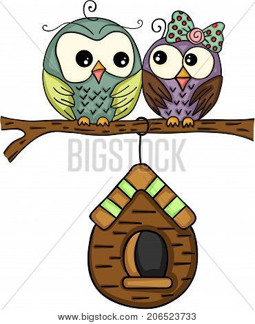 Scalable vectorial image representing a couple owls with wooden cage, isolated on white.