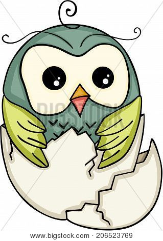 Scalable vectorial image representing a cute owl in broken egg, isolated on white.