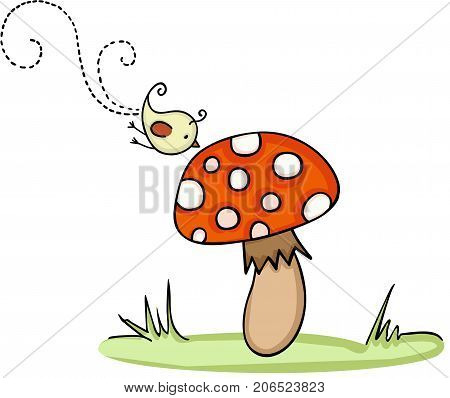 Scalable vectorial image representing a little bird with mushroom, isolated on white.