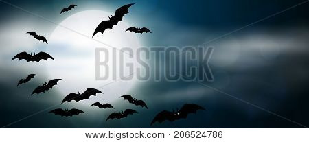 Night full moon and bats horizontal banner. Colorful scary Halloween illustration. Vector