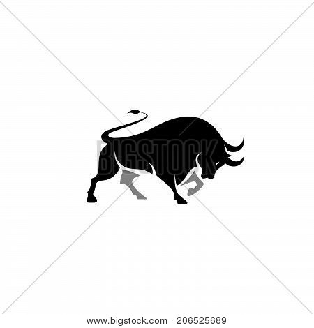 Isolated vector illustration, silhouette of a bull with horns. Bulls logo Print.