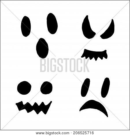 Halloween Pumpkin Pattern. Scary Texture, Hand Drawn Background.