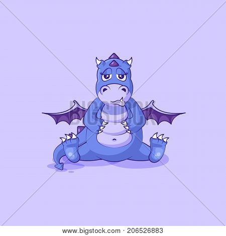 Vector Stock Illustration isolated Emoji character cartoon dragon dinosaur sad and frustrated sticker emoticon for site, info graphics, video, animation, websites, mail, newsletters, reports, comics