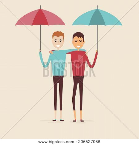 Adult ,guys,Men. Two best friends.Happy smiling young men friends.Happy best friends meeting.Happy couple icon.Happy friends two man.Friendly hug and Friendship concept.Vector illustration.