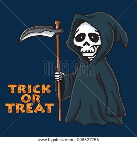 Grim Reaper Halloween Card Invitation Design Illustration Template