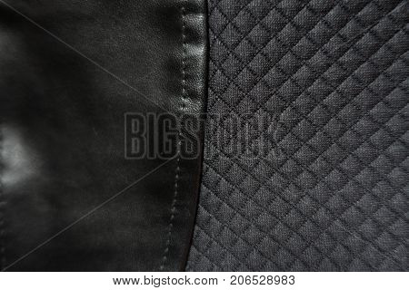 Leatherette Sewn To Polyester Fabric With Relief Checks