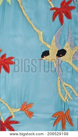 Blue Embroidered bird flowers , legs jeans texture