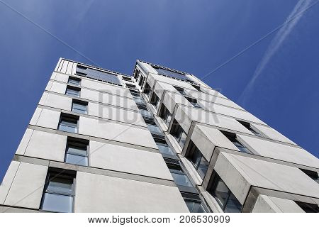 Swansea, UK: May 04, 2016: Dramatic angle of a high rise apartment building. Student accommodation at Swansea University's Singleton Campus.