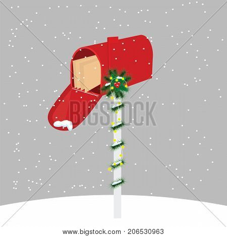 Inbox. Christmas. Red mailbox with letters to Santa Claus .Snowfall. Cartoon. Vector.