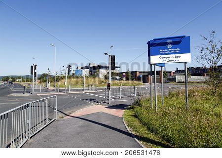 Swansea, UK: June 17, 2017: Main entrance to the new 65 acre Bay Campus which is located on the eastern approach to Swansea, and is the home to the College of Engineering and School of Management.